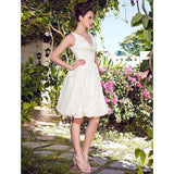A-Line Halter Knee Length Taffeta Bridal Gown with Beading Ruche Side-Draped