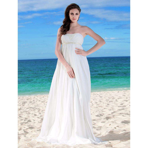 A-Line Strapless Sleeveless Backless Chiffon Bridal Gown with Beading Sash Ribbon Side-Draped