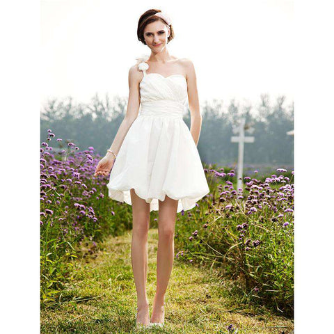 A-Line One Shoulder Short / Mini Taffeta Bridal Gown with Flower Ruche Side-Draped