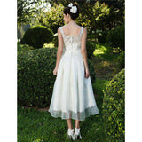A-Line Princess Scoop Neck Tea Length Lace Organza Bridal Gown with Sash / Ribbon Bow Ruche