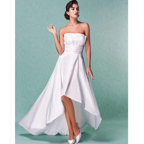 A-Line Backless Strapless Sleeveless Taffeta Bridal Gown with Sash Ribbon Draped Ruched