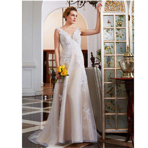 A-Line Plunging Neckline Court Train Lace Tulle Bridal Gown with Beading Appliques