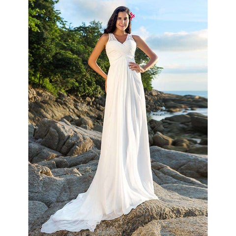 A-Line V-neck Court Train Chiffon Bridal Gown with Beading Sequin Criss-Cross
