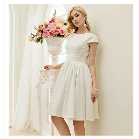 A-Line O-neck Short Sleeves Satin Bridal Gown with Sash Ribbon