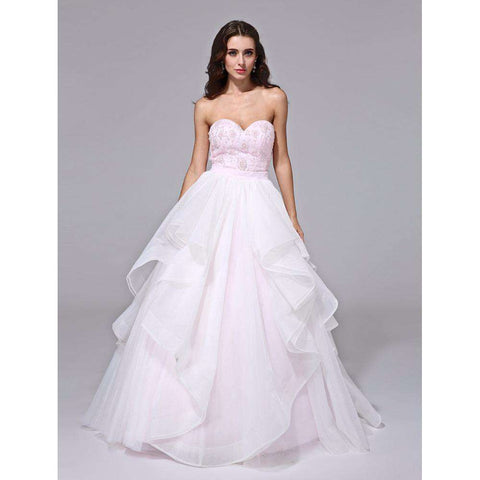 a5e4fe66f4 Sweetheart Sweep   Brush Train Organza Bridal Gown with Beading Lace Sash    Ribbon