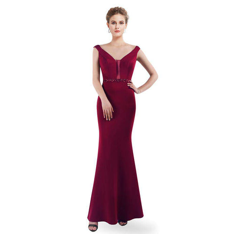 A-line V-neck Burgundy High Stretch Fishtail Party Gown