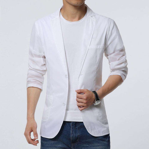 Single Button White Thin Cotton Blazer