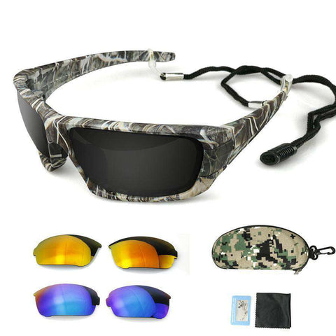 Polarised Camouflage Frame Sport Eyewear  Racing Sunglasses with 3 Lenses