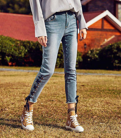 Natural Waist All-match Ankle-length Skinny Pants Jeans