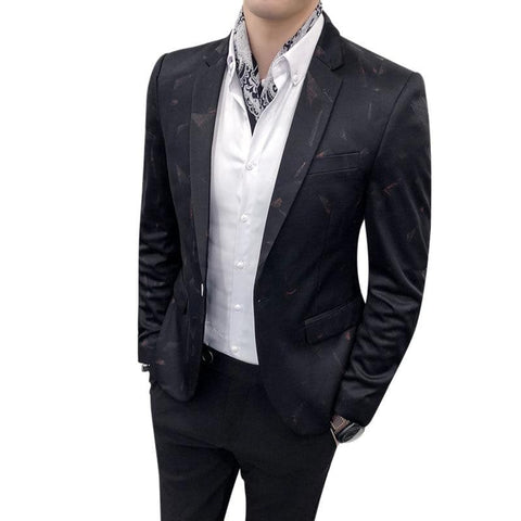 Slim Fit One Button Printed Decoration Blazer