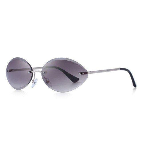 Rimless Oval Gradient Lens UV400 Protection Sunglasses