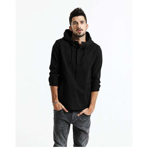 Turn-down Collar Hooded Front Pocket Slim Fit Jacket