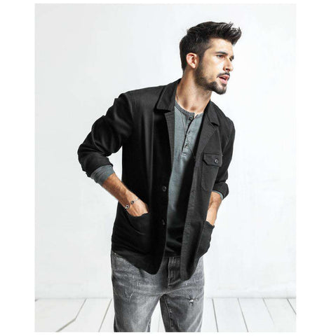 Turn-down Collar Single Breasted Slim Fit Pockets Jacket
