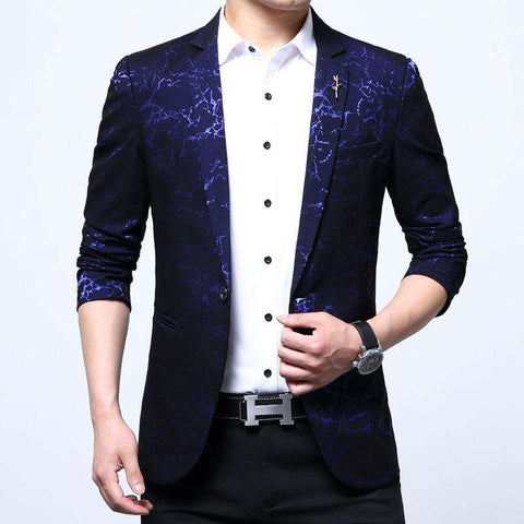 Single Breasted Suit collar Cotton blended Floral Design Blazer