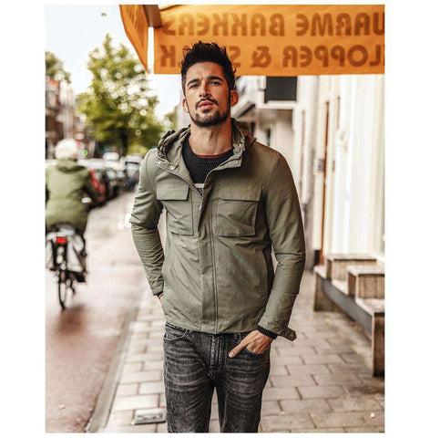 Military Windbreaker Turn-down Collar Slim Fit Jacket