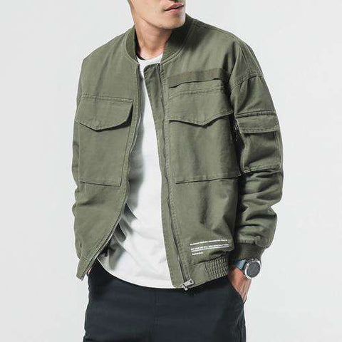 Washed Pure Cotton Army green Bomber Jackets