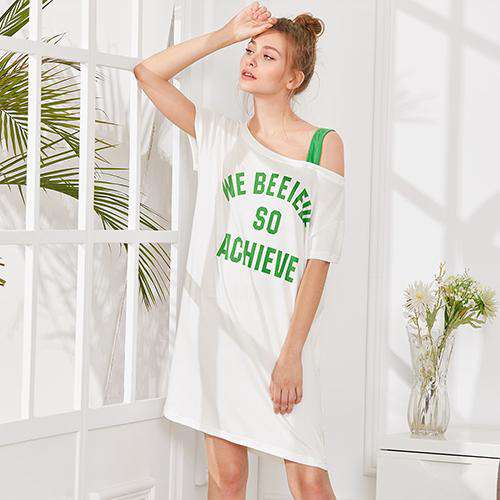 94cc572b1e Letter Print One Shoulder White Short Sleeve Nightgowns Sleepwear ...