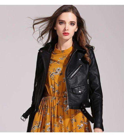 Faux Leather PU Bomber Slim Short Jacket with Belt