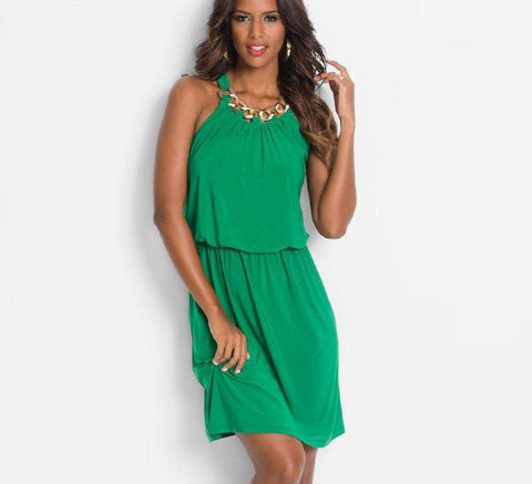 Halter Neck Knee-Length Sleeveless Dress
