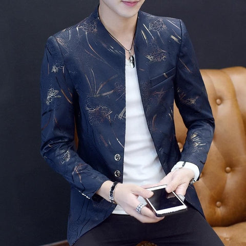 Chinese Collar Floral Gold Print Slim Fit Blazer