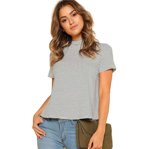 Mock Neck Striped Short Sleeve Stand Collar Black and White Top