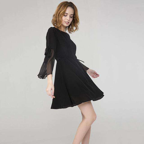 100% Silk Puff Sleeve Streamers Little Black Dress