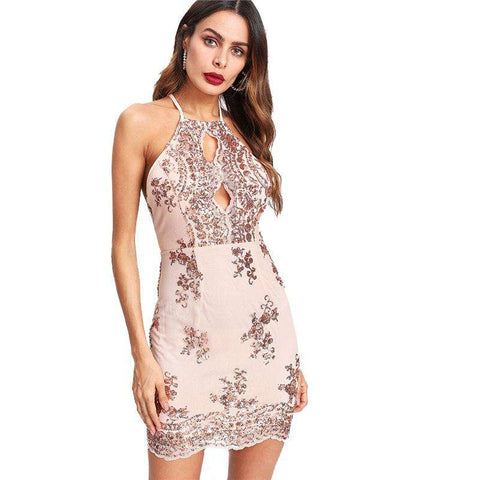 Split Front Sequin Racer Sleeveless Halter High Waist Short Dress