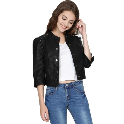 Soft PU Motorcycle Rivet Stand Collar Three Quarter Short Sleeve Faux Leather Jacket