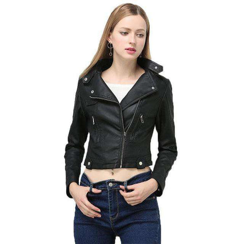 Faux Soft Leather Turn-down Collar Short Punk Jacket
