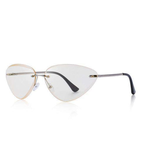 Rimless Cat Eye Gradient Lens UV400 Protection Sunglasses