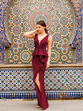 A-line V-neck Sleeveless Leg Slit Burgundy Beading Vintage Party Dress