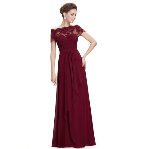 Boat Neck Long Chiffon Prom Dress Gown