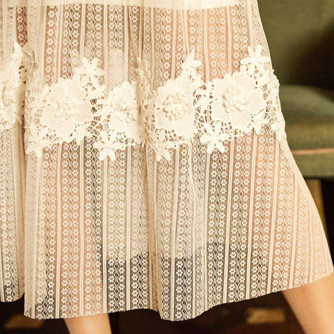 Hollow out Lace Floral Patchwork Mesh Long Big Swing Chiffon Fairy Skirt