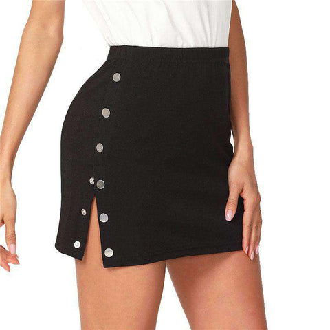 Buttoned Side Fitting Black Mid Waist Mini Skirt