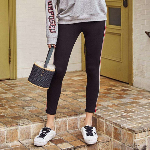 Contrast Colour Stitching Leisure Natural Waist Comfortable All-match Pencil Leggings