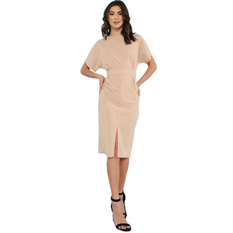 Batwing Sleeve Split Front Round Neck Short Sleeve Apricot Sheath Dress