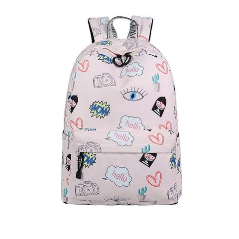 Waterproof Polyester Cute Cactus Cartoon Printing Backpack
