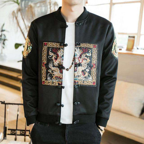 Embroidery Frog Button Tang  Retro Jacket