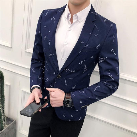 Small Star Print Slim Stylish Blazer