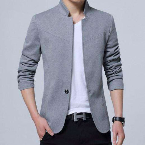 England Style Cotton Mandarin Collar Single Button Blazer