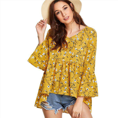 Fluted Sleeve Calico Print Dip Hem V Neck 3/4 Sleeve Mustard Asymmetrical Blouse Top