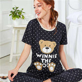 Bear & Polka Dot Print Navy Round Neck Short Sleeve Preppy Sleepwear Nightwear