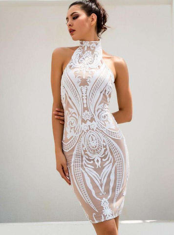 White Retro Sequins Halo Dress