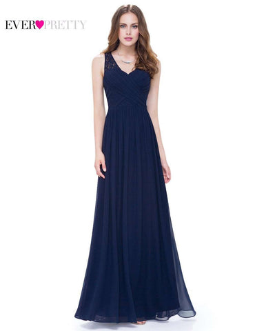 Navy Blue V-neck Party Gown