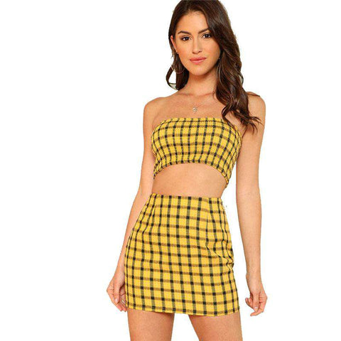Yellow Plaid Print Shirred Strapless Zipper Crop Top And Skirt