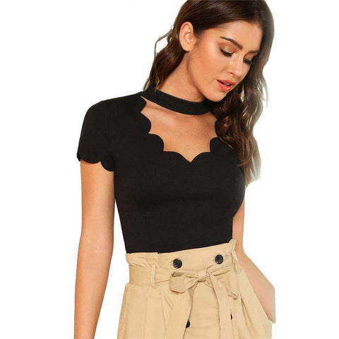 Black Mock Neck Scallop Trim Cut Out V Collar Short Sleeve Top