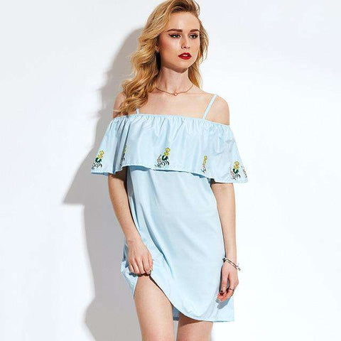 Off Shoulder Slash Neck Light Blue Ruffles Floral Embroidery Loose Short Dress