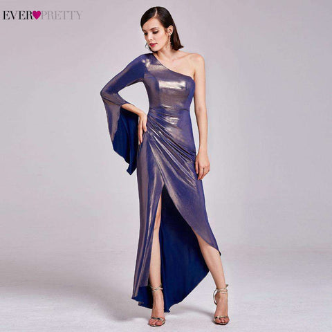 Special One Shoulder Asmmetrical Long Prom Party Gown with High Splits