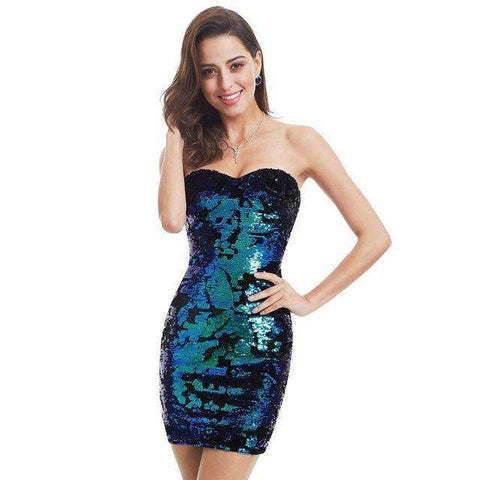 Luxurious Velvet Sequin Sparkle Style Strapless Mini Short Party Dress