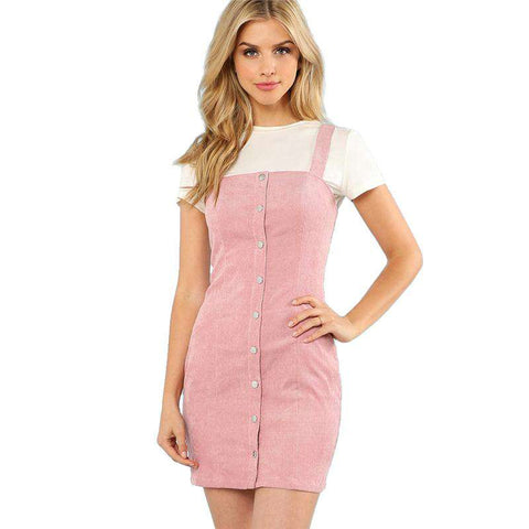 Button Up Strap Form Sleeveless Sheath Pink Slim Short Preppy Dress